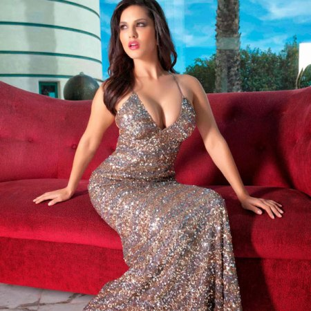 Sunny Leone in Sparkling Sequin Party Dress